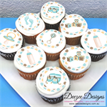 """Baby Boy Edible Icing Cupcake Toppers - 2"""" - PRE-CUT"""
