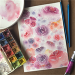 Original Watercolor Roses, Floral Painting, A5, Botanical Wall Art
