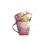 Watercolour Stacked Mugs, A5 Original Watercolour Painting, Kitchen Décor