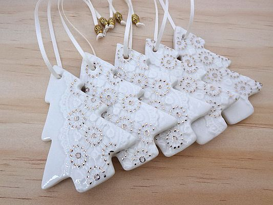 Gold And White Christmas Decorations, Ornaments. Ceramic