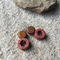 Earthy Red Lava Stone, Wood, Sterling Silver, dangle earring