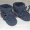 Newborn; Hand Knit, 0-3m, Baby Bootie Shoe, Wool, Denim Blue