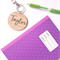Personalised Wood Bamboo Bag Tag / Key Ring - 'Taylor' Design