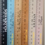 Black timber personalised height ruler (height chart) with your choice of name