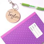 Personalised Wood Bamboo Bag Tag / Key Ring - 'Taylor' Design