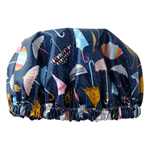 Umbrella print Shower Cap Soft Laminated Cotton waterproof and washable