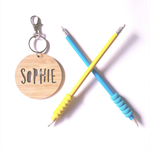 Personalised Wood Bamboo Bag Tag / Key Ring - 'Sophie' Design