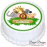 Jungle Animal Safari Personalised Round Edible Icing Cake Topper - PRE-CUT