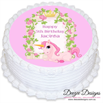 Unicorn Personalised Round Edible Cake Topper - PRE-CUT