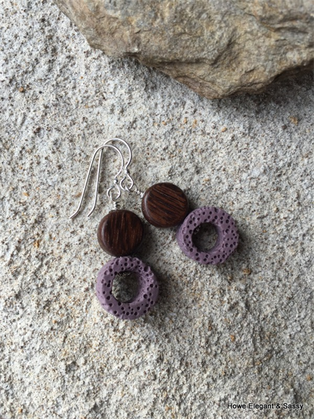 Purple Lava Stone, Wood, Sterling Silver, dangle earring