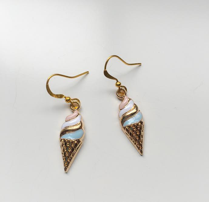 Ice Cream Earrings Food Charm Handmade Las Jewellery Enamel Goldtone New