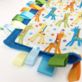 FREE POST * GIRAFFES ALL OVER * Security Blanket Taggie / Taggy Toy Comforter