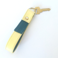 Carey Leather Tasselled Two Tone Key Fob: Lemon Yellow with Teal