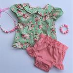 Pretty mint floral pleatie vintage blouse