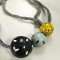 CUSTOM LISTING - NAT The Gobstopper Necklace! - Liquorice Allsort (+ red bead)