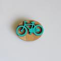 Oval Aqua Bicycle Wooden Brooch