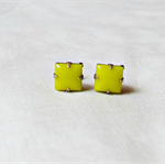 Neon Yellow Earrings Ear Studs Vintage Glass Bridesmaid Square Glam It Up