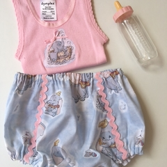 """Size 1-3 month """"Dumbo"""" Nappy Pants and Appliqued Singlet"""