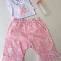 New Born - Pretty in Pink Harem Pants & Appliqued Singlet