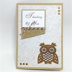 Thinking of You/Blank Card - Kraft, Laser Cut Owl