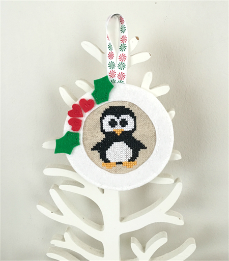 Cross-stitched penguin Christmas decoration, white