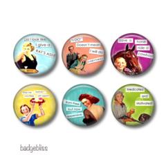 Fridge magnets -  set of 6 handpressed fridge magnets Sassy ladies