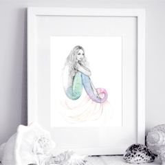 11x14 inch Matted Signed Daydreamer Mermaid Rainbow Tail Drawing Art Print