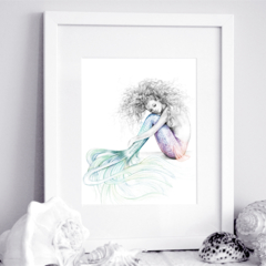 11x14 inch Matted Signed Tranquil Mermaid Rainbow Tail Drawing Art Print