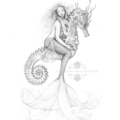 11x14 inch Matted Signed Mermaid Riding Seahorse Drawing Art Print