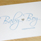 Baby Boy congratulations card with silver heart