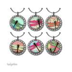 6 Wine Glass charms - Dragonfly