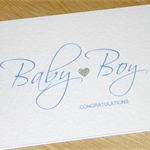 Baby Boy congratulations card with silver heart