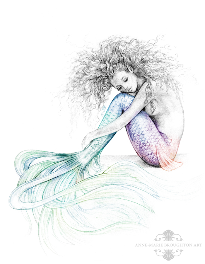11x14 Inch Matted Signed Tranquil Mermaid Rainbow Tail