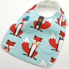 Baby Dribble Bib, Fox Cotton Fabric, Bamboo Toweling, Snap Fastened.
