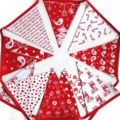 Christmas Bunting - Red Birds Nordic Style Flags  - Xmas  Party Decoration