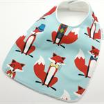 Baby Dribble Bib, Fox Cotton Fabric, Bamboo Toweling, Snap Fastened.