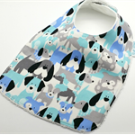 Baby Dribble Bib, Little Puppy Cotton Fabric, Bamboo Toweling, Snap Fastened.