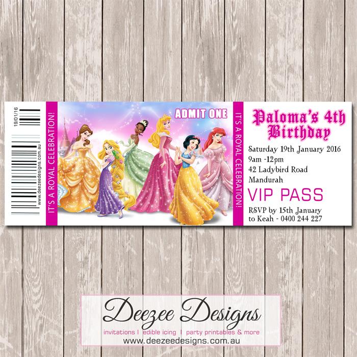 Disney Princess Personalised Ticket Style Birthday Invitation - YOU ...