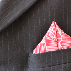 Pocket Square - Red Clouds