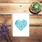 LOVE lacy cut out heart card, in blue