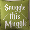"""Snuggle this Muggle"", Lime cushion cover, Harry Potter"