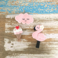 Value pack of 3 hair clips, apple, watermelon, blossom, red