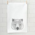 Baby wombat screen printed linen tea towel