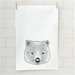 Baby wombat screen printed linen tea towel