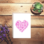 LOVE lace heart cut out card, in light pink anniversary card