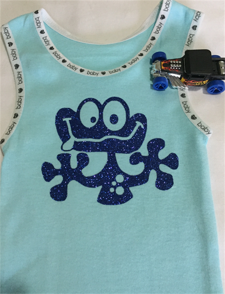 Baby Singlet, Blue, Size 00, cheeky frog