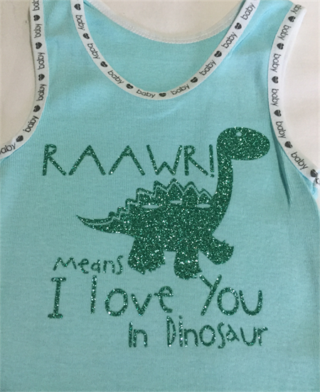 "Baby Singlet, Blue, Size 0, ""Raawr, means I love you in Dinosaur"""