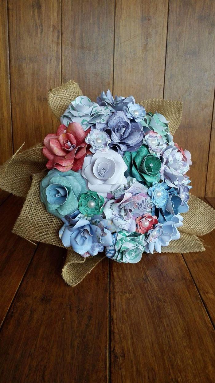 Bouquet Of Paper Flowers Ocean Mermaid Inspired Iridescentangel