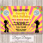Funky 70's Disco Dance Personalised Birthday Invitation - YOU PRINT