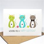 Birthday Card Female - 3 Kitty Cats - HBF166
